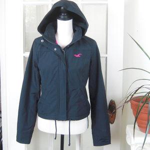 Hollister Women's Navy Zip/Snap Up  Hooded Jacket